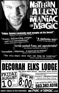 ELKS LODGE - DECORAH IOWA - AUGUST 10 – Nathan Allen, The Maniac of Magic – Comedian Magician Entertainer Entertainment – Des Moines, Iowa
