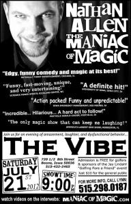 THE VIBE NIGHT CLUB - BOONE IOWA - Nathan Allen, The Maniac of Magic - Comedian Magician Entertainer Entertainment - Des Moines, Iowa