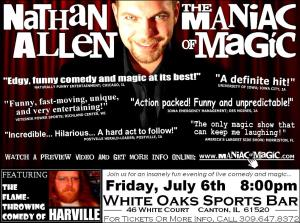 WHITE OAKS SPORTS BAR CANTON ILLINOIS POSTER – Nathan Allen, The Maniac of Magic – Comedian Magician Entertainer Entertainment – Des Moines, Iowa